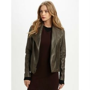 [Vince] Leather Brown Moto Scuba Ribbed Jacket